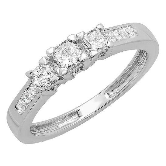Dazzling Rock Dazzlingrock Collection 0.60 Carat (ctw) 14K Princess Diamond Ladies 3 Stone Bridal Engagement Ring, White Gold, Size 8 | Joma Shop
