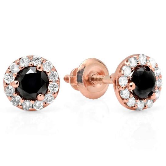 Dazzling Rock Dazzlingrock Collection 0.60 Carat (ctw) 14K Round Black & White Diamond Ladies Halo Style Stud Earrings, Rose Gold   Joma Shop
