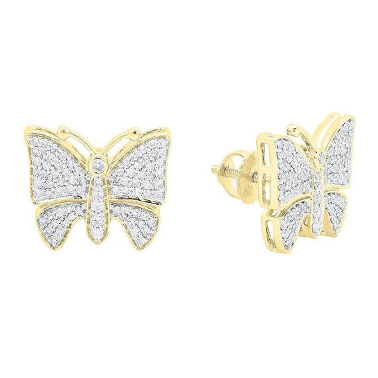 Dazzling Rock Dazzlingrock Collection 0.70 Carat (ctw) 14K Round White Diamond Ladies Butterfly Stud Earrings 3/4 CT, Yellow Gold   Joma Shop