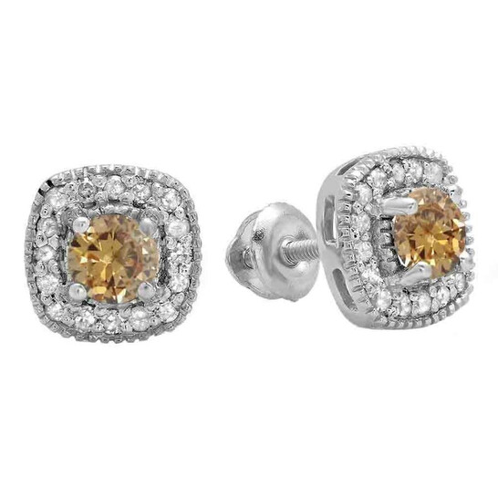 Dazzling Rock Dazzlingrock Collection 0.75 Carat (ctw) 10K Round Cut Champagne & White Diamond Ladies Halo Stud Earrings 3/4 CT, White Gold   Joma Shop