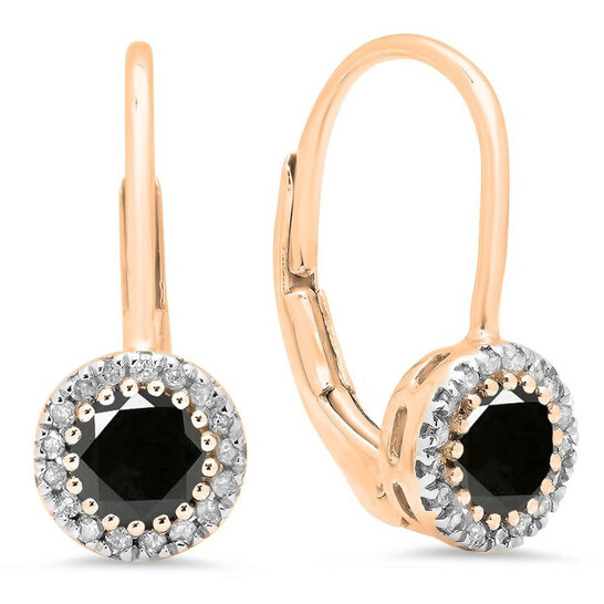 Dazzling Rock Dazzlingrock Collection 0.90 Carat (ctw) 10K Round Black & White Diamond Ladies Halo Style Dangling Drop Earrings, Rose Gold   Joma Shop