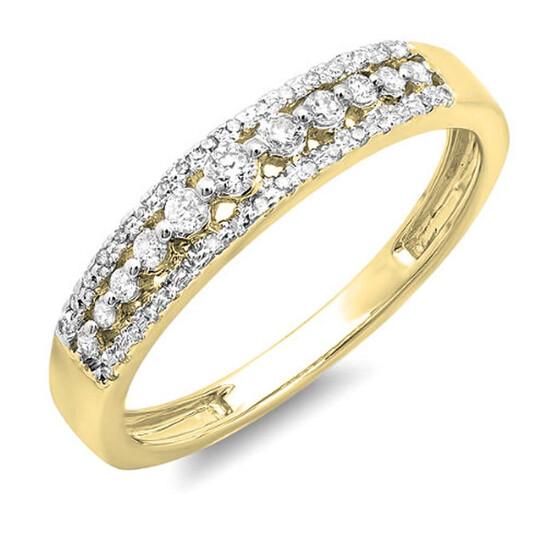 Dazzling Rock Dazzlingrock Collection 0.25 Carat (ctw) 14K Round Diamond Ladies Anniversary Wedding Band Ring 1/4 CT, Yellow Gold, Size 9.5   Joma Shop