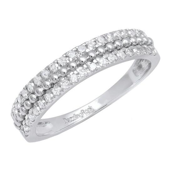 Dazzling Rock Dazzlingrock Collection 0.35 Carat (ctw) 14K Round Diamond Ladies Double Row Wedding Band 1/3 CT, White Gold, Size 7   Joma Shop