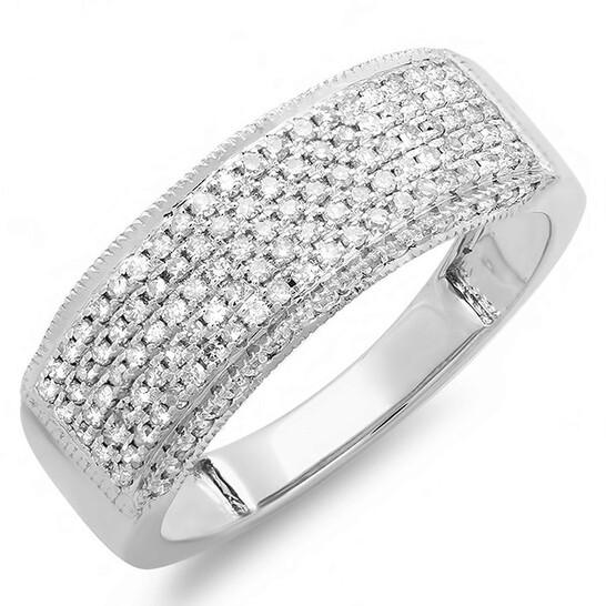 Dazzling Rock Dazzlingrock Collection 0.50 Carat (ctw) 14k Round Real Diamond Ladies Anniversary Band Wedding Ring 1/2 CT, White Gold, Size 7 | Joma Shop