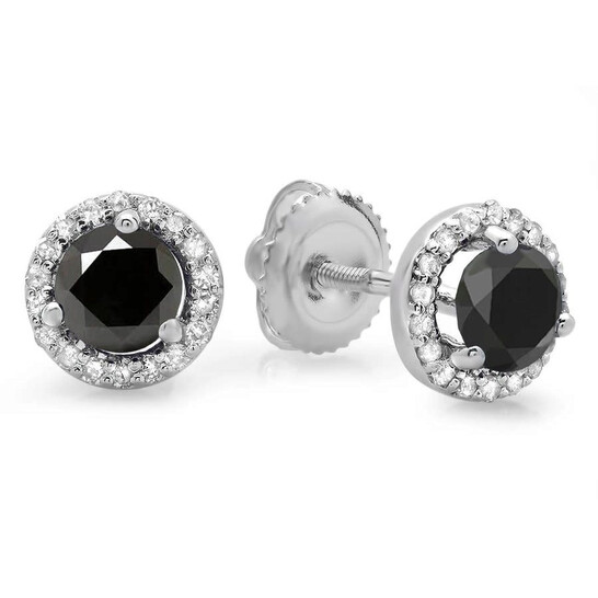 Dazzling Rock Dazzlingrock Collection 1.00 Carat (Ctw) 10K Round Black & White Diamond Ladies Halo Style Stud Earrings 1/2 CT, White Gold | Joma Shop