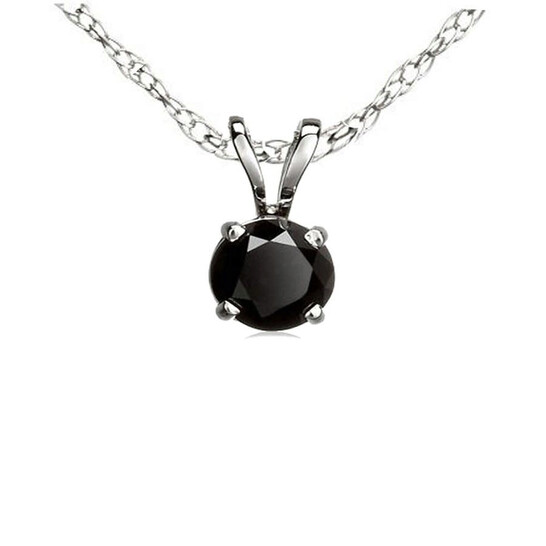 Dazzling Rock Dazzlingrock Collection 1.00 Carat (ctw) 10K Round Cut Black Diamond Ladies Solitaire Pendant 1 CT, White Gold   Joma Shop