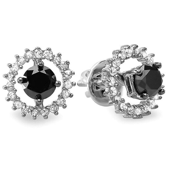 Dazzling Rock Dazzlingrock Collection 1.00 Carat (ctw) Ladies Black & White Diamond Stud Earrings, Jackets can be separated, Sterling Silver   Joma Shop