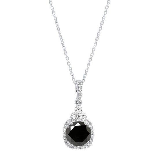 Dazzling Rock Dazzlingrock Collection 1.15 Carat (ctw) 14K Round Cut Black & White Diamond Ladies Halo Pendant, White Gold   Joma Shop