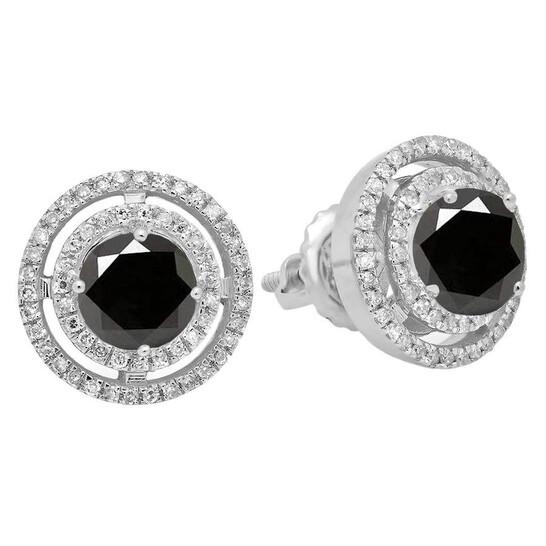 Dazzling Rock Dazzlingrock Collection 1.17 Carat (ctw) 14K Round Black & White Diamond Ladies Halo Style Stud Earrings, White Gold | Joma Shop