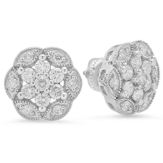 Dazzling Rock Dazzlingrock Collection 1.40 Carat (ctw) Round White Diamond Ladies Vintage Style Cluster Stud Earrings, Sterling Silver   Joma Shop