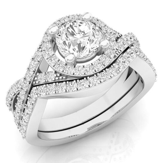 Dazzling Rock Dazzlingrock Collection 1.50 Carat (ctw) 14K Round Cut White Cubic Zircona Bridal Engagement Ring Set, White Gold, Size 6   Joma Shop