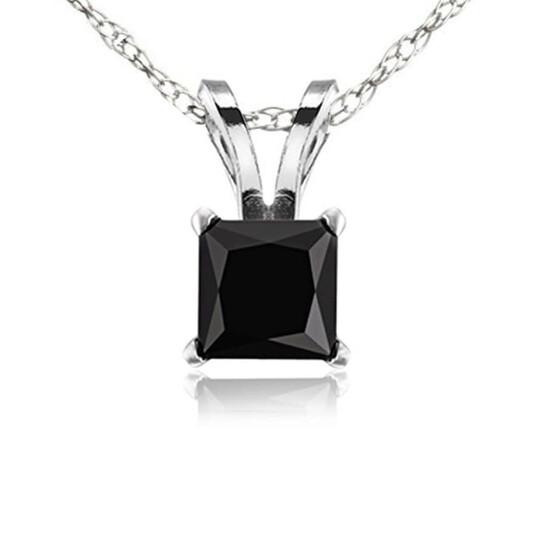 Dazzling Rock Dazzlingrock Collection 1.75 Carat (ctw) 14K Black Diamond Ladies Solitaire Pendant (Silver Chain Included), White Gold | Joma Shop