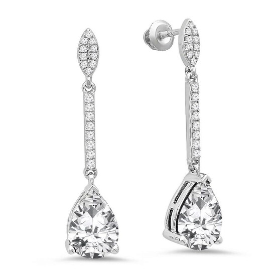 Dazzling Rock Dazzlingrock Collection 10K 10X7 MM Each Pear Lab Created White Sapphire & Round Diamond Ladies Dangling Earrings, White Gold   Joma Shop