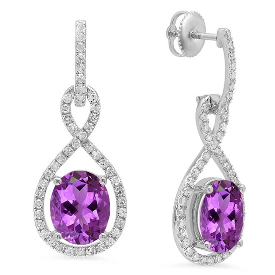 Dazzling Rock Dazzlingrock Collection 10K 10X8 MM Each Oval Amethyst & Round White Diamond Ladies Dangling Drop Earrings, White Gold | Joma Shop