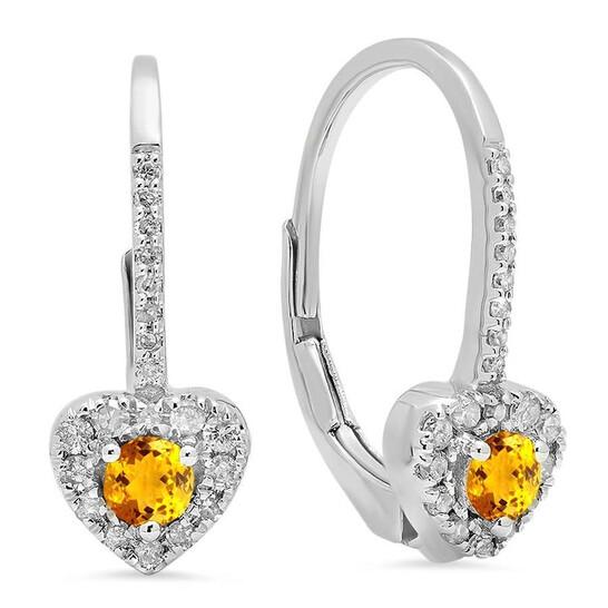 Dazzling Rock Dazzlingrock Collection 10K 3 MM Each Round Citrine & White Diamond Ladies Heart Shape Drop Earrings, White Gold | Joma Shop