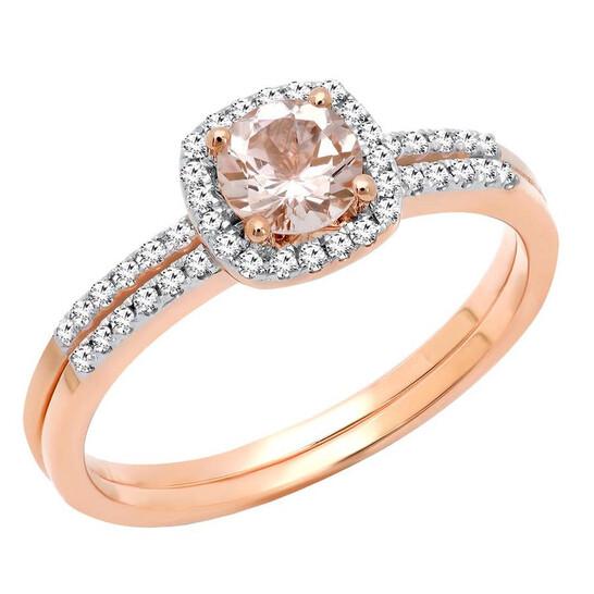 Dazzling Rock Dazzlingrock Collection 10K 5 MM Round Morganite & Diamond Bridal Halo Engagement Ring Set, Rose Gold | Joma Shop