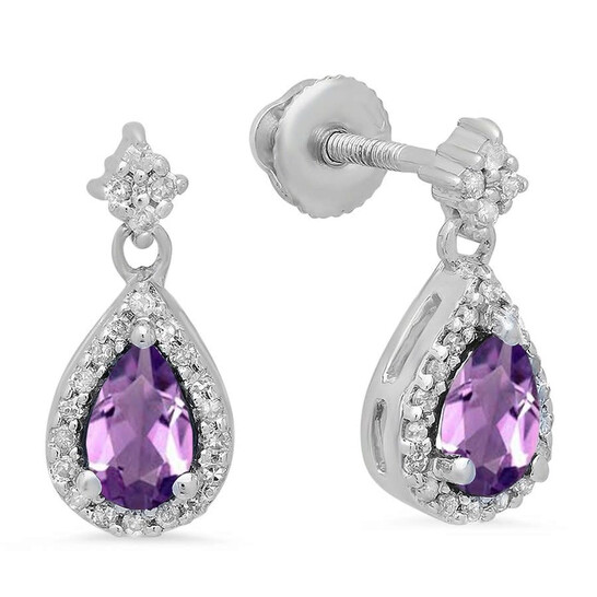Dazzling Rock Dazzlingrock Collection 10K 5X3 MM Pear Amethyst & Round Diamond Ladies Halo Style Dangling Drop Earrings, White Gold | Joma Shop
