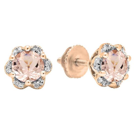Dazzling Rock Dazzlingrock Collection 10K 6 MM Each Round Morganite & White Diamond Ladies Flower Cluster Stud Earrings, Rose Gold | Joma Shop