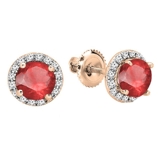 Dazzling Rock Dazzlingrock Collection 10K 6.5 MM Each Round Lab Created Ruby & White Diamond Ladies Stud Earrings, Rose Gold | Joma Shop