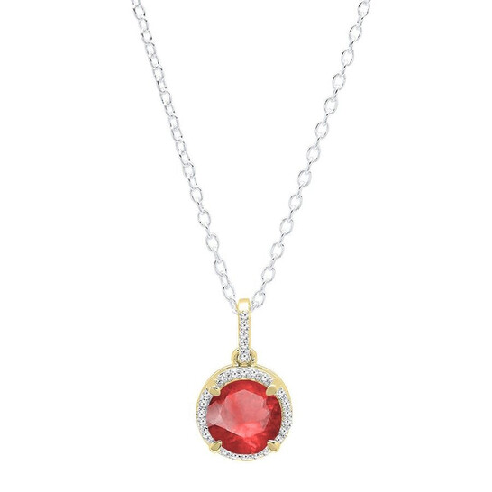 Dazzling Rock Dazzlingrock Collection 10K 6.5 MM Round Ruby & White Diamond Ladies Halo Pendant (Silver Chain Included), Yellow Gold | Joma Shop