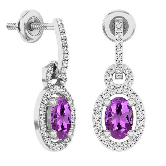 Dazzling Rock Dazzlingrock Collection 10K 6X4 MM Oval Amethyst & Round White Diamond Ladies Dangling Drop Earrings, White Gold   Joma Shop