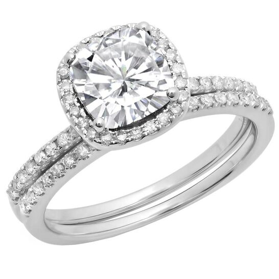 Dazzling Rock Dazzlingrock Collection 10K 7 MM Cushion Lab Created White Sapphire & Round Diamond Wedding Ring Set, White Gold, Size 8   Joma Shop