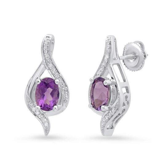 Dazzling Rock Dazzlingrock Collection 10K 7X5 MM Each Oval Amethyst & Round Diamond Ladies Drop Earrings, White Gold   Joma Shop