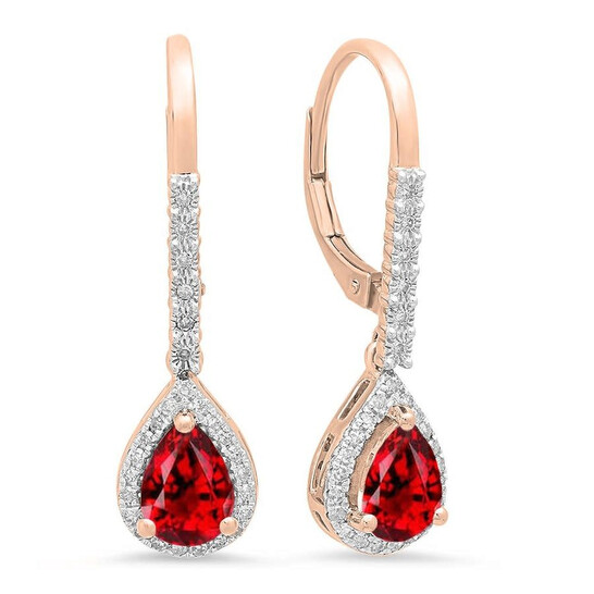 Dazzling Rock Dazzlingrock Collection 10K 7X5 MM Each Pear Garnet & Round White Diamond Ladies Dangling Drop Earrings, Rose Gold   Joma Shop