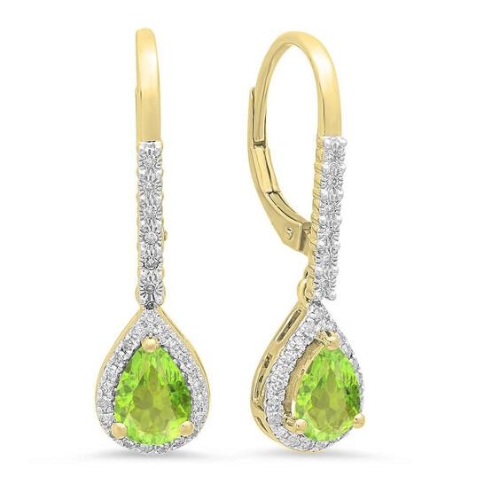 Dazzling Rock Dazzlingrock Collection 10K 7X5 MM Each Pear Peridot & Round White Diamond Ladies Dangling Drop Earrings, Yellow Gold | Joma Shop