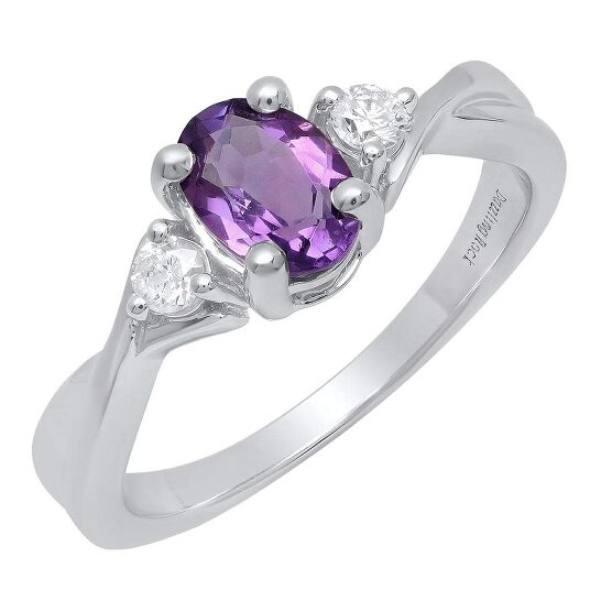 Dazzling Rock Dazzlingrock Collection 10K 7X5 MM Oval Amethyst & Round Diamond Ladies Engagement 3 Stone Ring, White Gold, Size 7 | Joma Shop