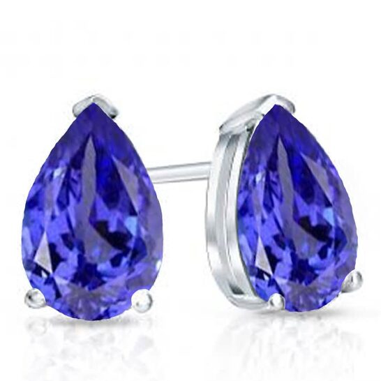 Dazzling Rock Dazzlingrock Collection 10K 7X5 MM Pear Tanzanite Ladies Solitaire Stud Earrings, White Gold   Joma Shop