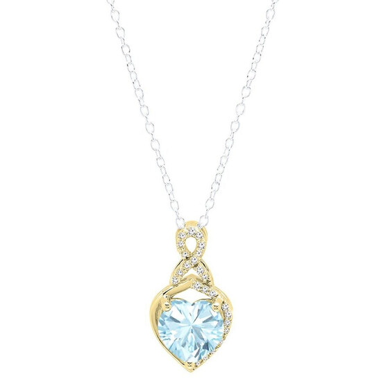 Dazzling Rock Dazzlingrock Collection 10K 8 MM Heart Shaped Aquamarine & Round White Diamond Ladies Heart Pendant, Yellow Gold | Joma Shop