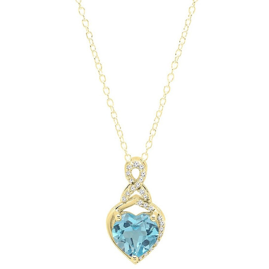 Dazzling Rock Dazzlingrock Collection 10K 8 MM Heart Shaped Blue Topaz & Round White Diamond Ladies Heart Pendant, Yellow Gold   Joma Shop