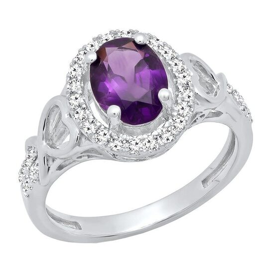 Dazzling Rock Dazzlingrock Collection 10K 8X6 MM Oval Amethyst & Round White Diamond Ladies Bridal Engagement Ring, White Gold, Size 6 | Joma Shop