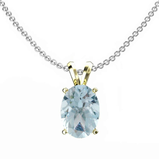 Dazzling Rock Dazzlingrock Collection 10K 9x7 mm Oval Cut Aquamarine Ladies Solitaire Pendant (Silver Chain Included), Yellow Gold | Joma Shop