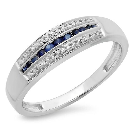Dazzling Rock Dazzlingrock Collection 10K Blue Sapphire & White Diamond Anniversary Wedding Band Stackable Ring, White Gold, Size 7   Joma Shop