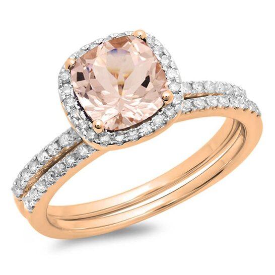 Dazzling Rock Dazzlingrock Collection 10K Cushion Morganite & Round White Diamond Bridal Halo Engagement Ring Set, Rose Gold, Size 6.5   Joma Shop
