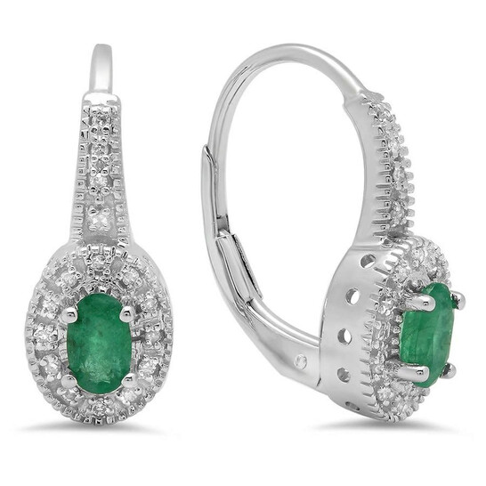 Dazzling Rock Dazzlingrock Collection 10K Oval Cut Emerald & Round Cut White Diamond Ladies Halo Style Millgrain Hoop Earrings, White Gold | Joma Shop