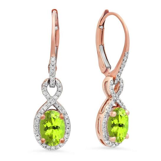 Dazzling Rock Dazzlingrock Collection 10K Oval Peridot & Round White Diamond Ladies Infinity Dangling Earrings, Rose Gold   Joma Shop
