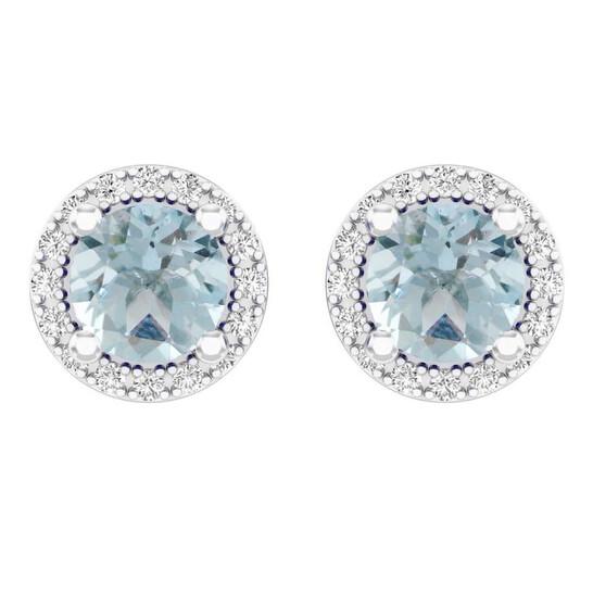 Dazzling Rock Dazzlingrock Collection 10K Round Aquamarine & White Diamond Ladies Halo Style Stud Earrings, White Gold | Joma Shop