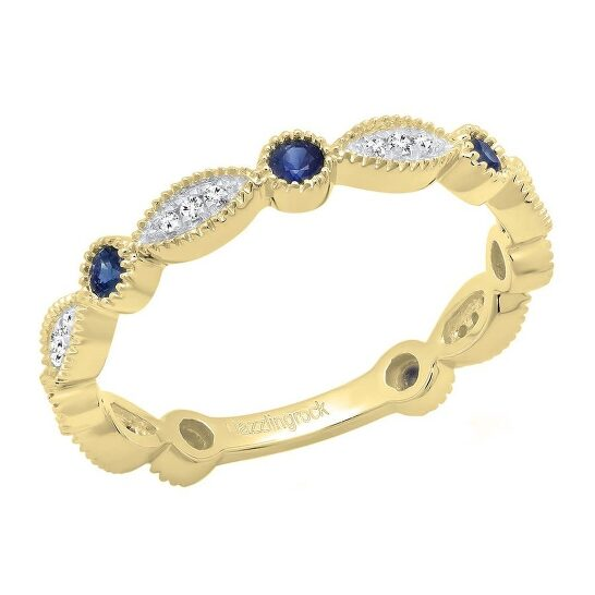 Dazzling Rock Dazzlingrock Collection 10K Round Blue Sapphire & White Diamond Ladies Stackable Wedding Band Ring, Yellow Gold, Size 7.5 | Joma Shop