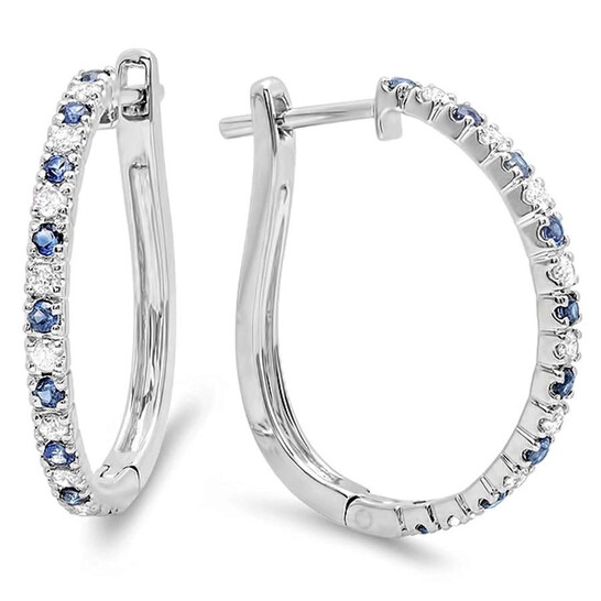 Dazzling Rock Dazzlingrock Collection 10K Round Blue Sapphire and White Diamond Ladies Hoop Earrings, White Gold   Joma Shop
