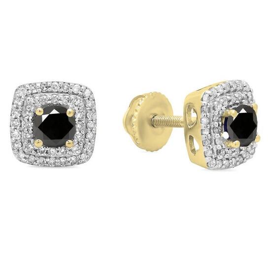 Dazzling Rock Dazzlingrock Collection 10K Round Cut Black & White Diamond Ladies Halo Style Stud Earrings, Yellow Gold | Joma Shop
