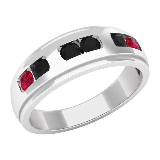 Dazzling Rock Dazzlingrock Collection 10K Round Cut Ruby & Black Diamond Men's Channel Set Wedding Band, White Gold, Size 10.5   Joma Shop