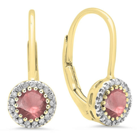 Dazzling Rock Dazzlingrock Collection 10K Round Ruby & White Diamond Ladies Halo Style Dangling Drop Earrings, Yellow Gold | Joma Shop