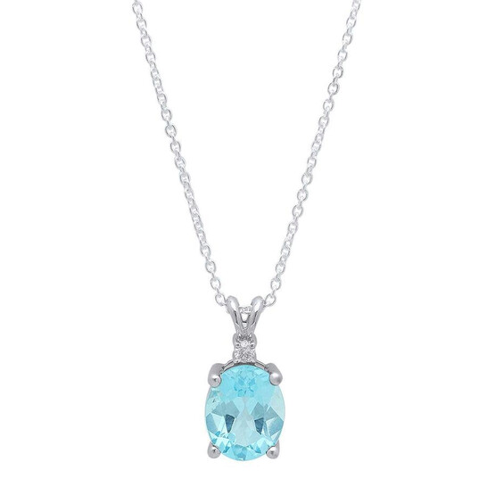 Dazzling Rock Dazzlingrock Collection 10X8 MM Oval Blue Topaz & Round Diamond Ladies Pendant (Silver Chain Included), Sterling Silver | Joma Shop