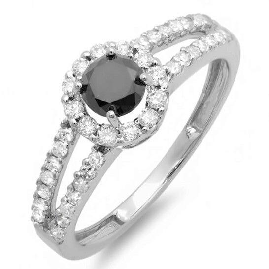 Dazzling Rock Dazzlingrock Collection 1.15 Carat (ctw) 14k Gold Round Black and White Diamond Ladies Engagement Halo Style Bridal Ring, Size 7.5 | Joma Shop