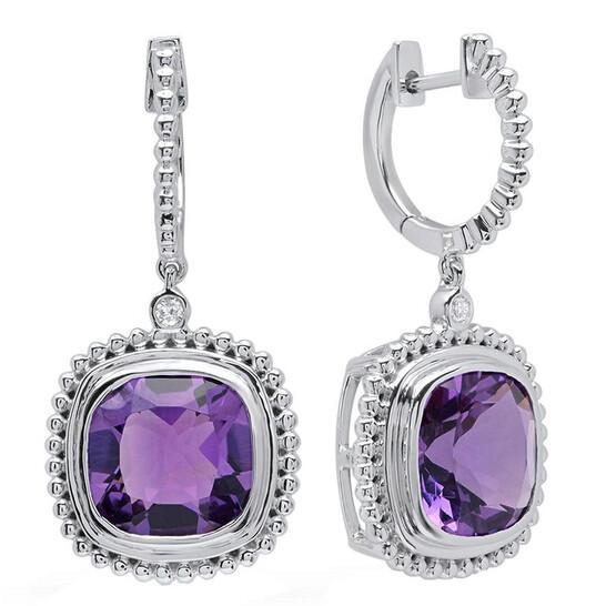 Dazzling Rock Dazzlingrock Collection 14K 10 MM Cushion Amethyst & Round Diamond Ladies Dangling Drop Earrings, White Gold | Joma Shop