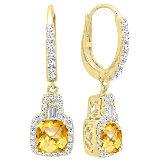Dazzling Rock Dazzlingrock Collection 14K 5 MM Each Cushion Citrine And Tapered & Round White Diamond Ladies Drop Earrings, Yellow Gold   Joma Shop
