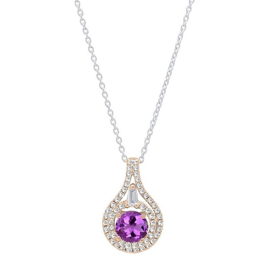 Dazzling Rock Dazzlingrock Collection 14K 5.5 MM Round Amethyst And Round & Baguette Diamond Ladies Pendant, Rose Gold   Joma Shop